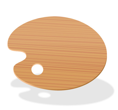 Palette. Blank wooden artists painting board. Isolated vector illustration on white background.