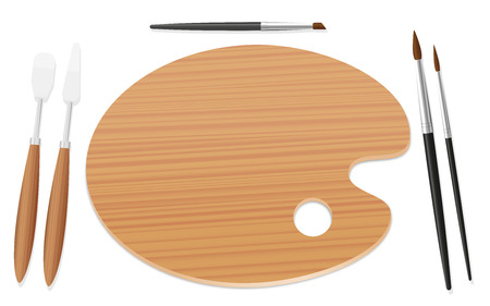 Table setting with an artists palette, paintbrushes and spatulas instead of plate and cutlery. Symbol for enjoyment of art, desire to paint, appetite for creativity. Isolated vector on white.