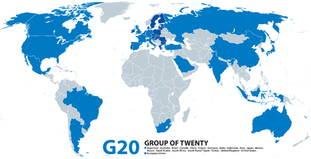 G20, Group of Twenty, infographic and map. Forum to discuss the promotion of international financial stability. Twenty individual countries and the not individually represented European Union. Vector. Illustration