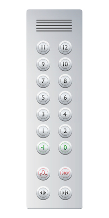 Elevator buttons. Metallic control panel for a building with twelve floors and basement, plus alarm and stop button, door opener and closer and intercom.