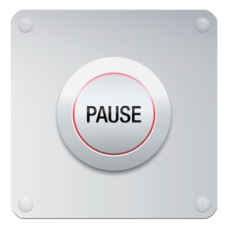 Pause button to stop music, video, computer, movie or any media. Or symbolic for reducing stress, for calmness, silence, relaxing, tranquility, mental health, yoga, ease and rest. Illustration