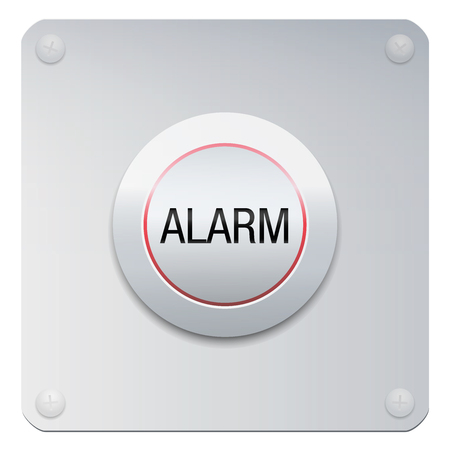 Alarm button on chrome panel. Metallic isolated vector illustration on white background.