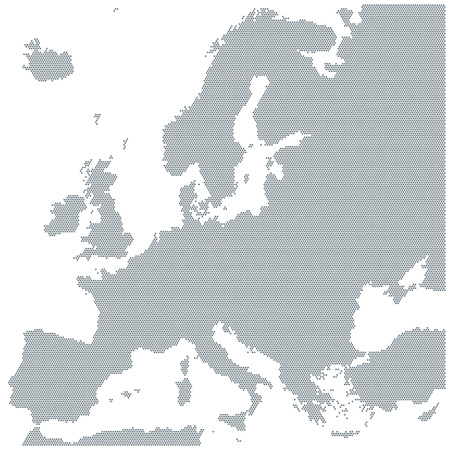 Map of Europe made of gray dots. Dotted silhouette, outline and surface of Europe and the surrounded regions. Dots in a row. Isolated illustration on white background. Vector.