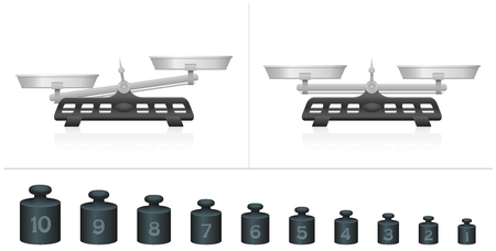 Two pan scales, unequal and equal weightiness, ten different weights for calculation, comparing, counting and weighing. Isolated vector illustration on white background. Çizim