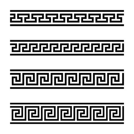 Cztery wzory bezszwowych meandrów. Meandros, dekoracyjna lamówka, zbudowana z ciągłych linii, uformowana w powtarzający się motyw. Grecki próg lub grecki klucz. Czarno-biały ilustracja na białym tle. Wektor. Ilustracje wektorowe