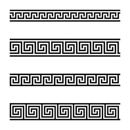 Modelli di meandro senza soluzione di continuità su sfondo bianco. Meandros, un bordo decorativo, fatto di linee continue, modellato in un motivo ripetuto. Anche tasto greco o chiave greca. Illustrazione in bianco e nero. Vettore