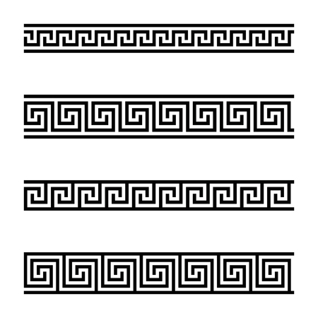 Seamless meander patterns on white background. Meandros, a decorative border, made of continuous lines, shaped into a repeated motif. Also Greek fret or Greek key. Black and white illustration. Vector