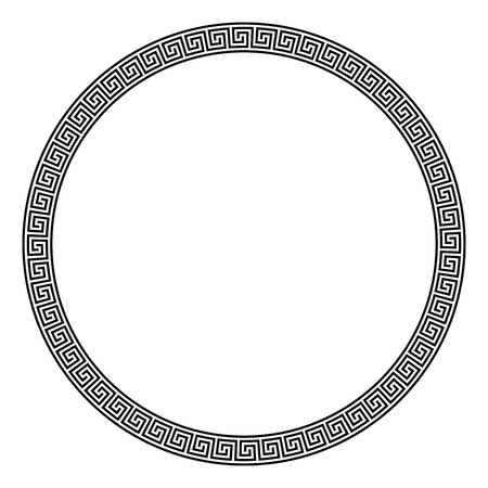 Circle frame made of seamless meander pattern. Meandros, a decorative border, constructed from continuous lines, shaped into a repeated motif. Greek fret or Greek key. Illustration over white. Vector.