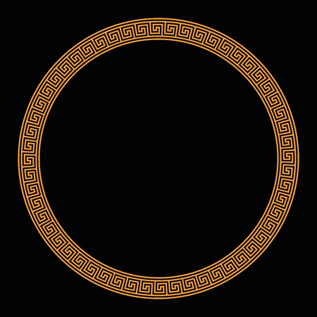 Ring with seamless meander patterns on black background. Orange meandros, decorative border, made of lines, shaped into a repeated motif and design. Also Greek fret or Greek key. Illustration. Vector.