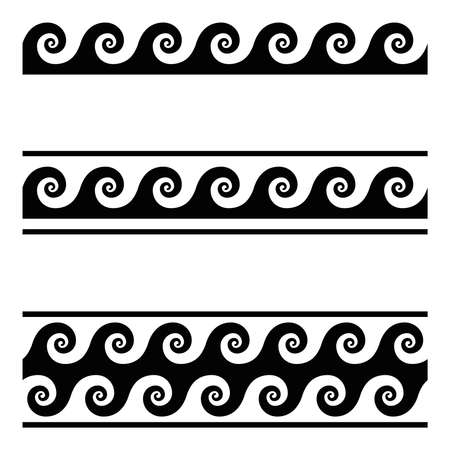Running dog pattern, a seamless meander design over white. Continuous waves, shaped into a repeated motif. Scroll pattern, used as decorative border. Also Vitruvian wave or Vitruvian scroll. Vector.
