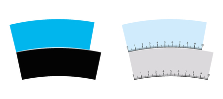 Jastrow optical illusion. The blue and the black arches are identical and of same lenth. Also known as ring segment, Wundt area or Boomerang illusion. Isolated illustration on white background. Vector