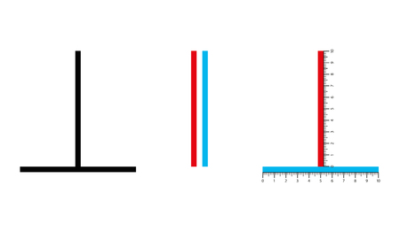 Vertical horizontal optical illusion. The vertical line seems to be longer, but both lines are of the same length. The bisected line appears to be shorter. Illustration on white background. Vector.
