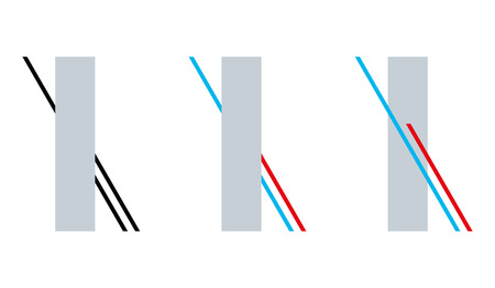 Poggendorff geometrical optical illusion. The red line appears to be continuing behind the gray rectangle but it is the blue line. Misperception of a position. Illustration on white background. Vector