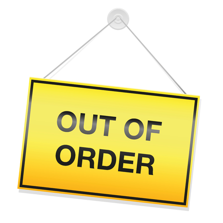 Out of order sign, yellow rectangular panel with warning message. Isolated vector illustration on white background. Ilustração