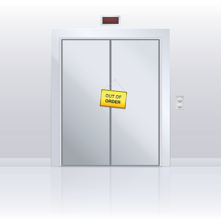 Out of order sign on elevator door. Yellow warning panel hanging on closed passenger lift with malfunction. Vector illustration.