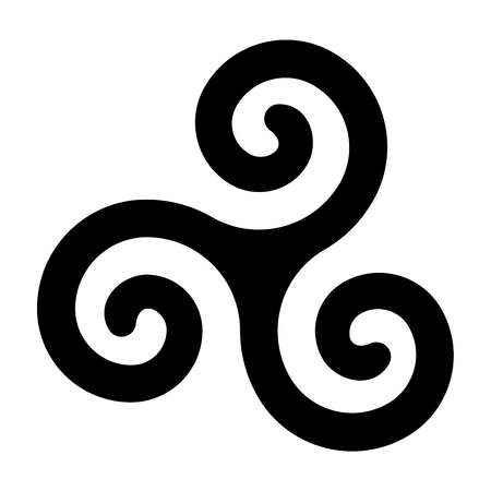Black celtic spiral triskele on white background. Triskelion. A motif consisting of a triple spiral exhibiting rotational symmetry. Three twisted and connected spirals. Isolated illustration. Vector.