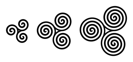 Black Celtic triskelion spirals over white. Triple spirals with two, three and four turns. Motifs of three twisted and connected spirals, exhibiting rotational symmetry. Isolated illustration. Vector. Фото со стока - 105480904