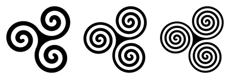 Three black Celtic triskelion spirals over white. Triple spirals with two, three and four turns. Motifs of twisted and connected spirals, exhibiting rotational symmetry. Isolated illustration. Vector.
