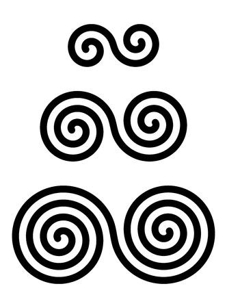 Three interlocked double spirals over white. Combined spirals with two, three and four turns. Motifs of twisted and connected spirals. Isolated illustration. Vector.