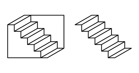 Schroeder stairs optical illusion. Drawing which may perceived as downwards leading staircase, from left to right. Or the same staircase, turned upside down. Perspective reversal. Illustration. Vector 일러스트