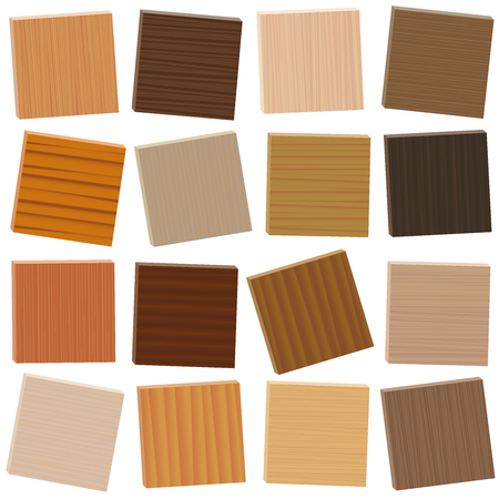 Wood samples. Loosely arranged parquetry types. Wooden plates with different colors, glazes, textures from various trees to choose - brown, dark, gray, light, red, yellow, orange decor models - 3d vector on white background.