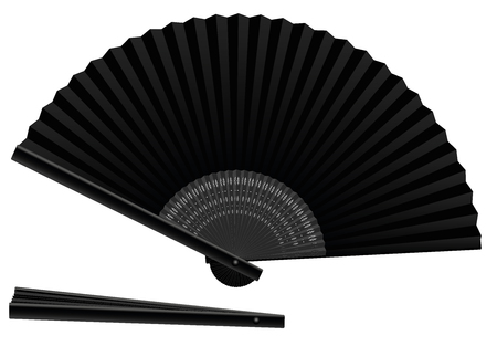 Black hand fan, open and closed, three-dimensional, realistic - isolated vector illustration on white background. Illustration