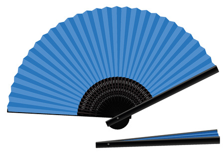 Hand fan, blue, open and closed, three-dimensional, realistic - isolated vector illustration on white background.