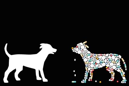 Pastillas que dan forma a un perro. Símbolo para problemas de salud de mascotas, medicina veterinaria, farmacia, antibióticos o dieta - ilustración de vector aislado sobre fondo negro.