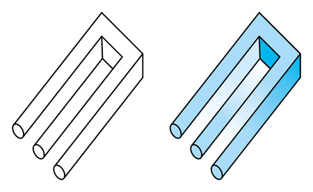 Blivet, niemożliwy trójząb, rodzaj złudzenia optycznego. Niemożliwy przedmiot i nieczytelna postać. Znany również jako niemożliwy widelec, kamerton poiuyt i diabły. Ilustracja na białym tle. Wektor.