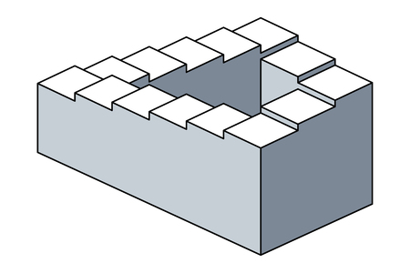 Penrose stairs, impossible staircase, optical illusion. Also Penrose steps. Impossible object. Two dimensional depiction of a staircase, forming a continuous loop. Illustration over white. Vector.