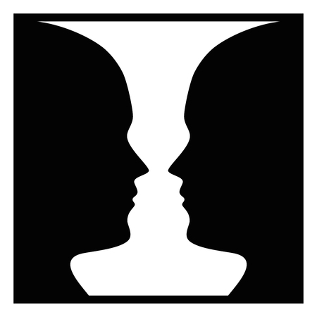 Figure-ground perception, face and vase. Figure-ground organization. Perceptual grouping. In Gestalt Psychology known as identifying a figure from background. Isolated illustration over white. Vector. Vettoriali