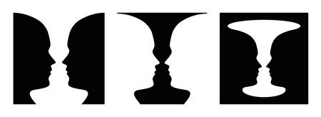 Drie keer figuur-grondwaarneming, gezicht en vaas. Figuur-grond organisatie. Perceptueel groeperen. In de Gestaltpsychologie bekend als identificerende figuur van de achtergrond. Illustratie over wit. Vector Vector Illustratie