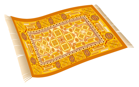 Magic carpet. Flying carpet with orange, yellow and red pattern. Isolated vector illustration on white background.