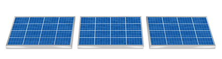Solar plates collector set. Three 3d photovoltaic panels, side by side, horizontal positioning - isolated vector illustration on white background. Archivio Fotografico - 104926916