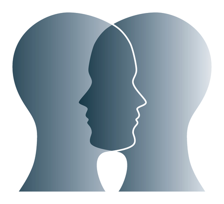 Gray silhouettes of two heads on white background. Two overlapping faces as symbol for anxiety, uncertainty, doubt and other psychological problems and questions. Isolated illustration. Vector.