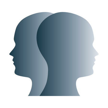 Janus face symbol made of gray silhouettes of two heads. Two overlapping heads as sign for duality, anxiety, uncertainty and other psychological problems and questions. Illustration over white. Vector 스톡 콘텐츠 - 105481049