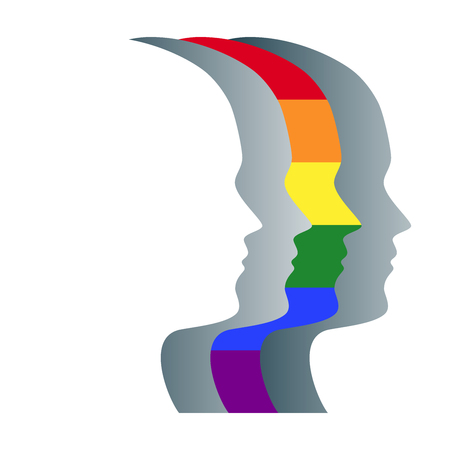 Gay and gray silhouettes of faces, positioned in a straight row. Overlapping heads, one striped and in the colors of the LGBT flag, a symbol for gay pride, peace and human rights. Illustration. Vector Ilustração