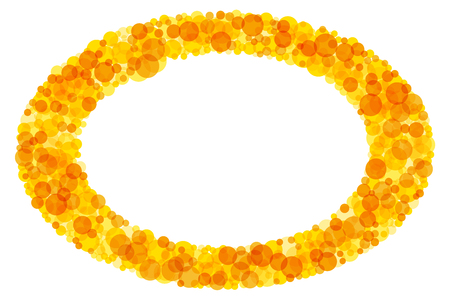 Bright colored elliptical frame. Sparkling translucent dots in the colors yellow to orange forming a ring pattern. Sunny background and decor. Illustration on white background. Illustration