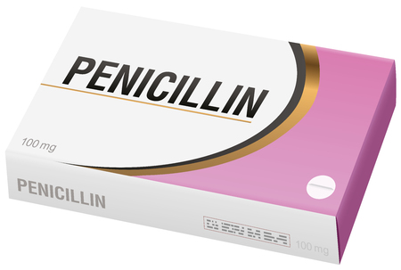 PENICILLIN - pharmaceutical fake package, isolated on white background. Illustration