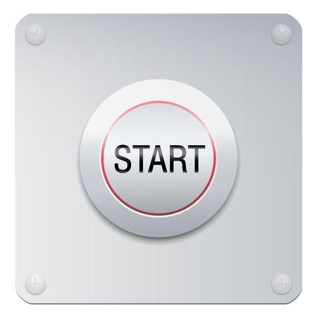 Start button on a chrome panel to start machines, gadgets instruments, but also a new project, adventure, lifestyle, relationship or many other beginnings. Illustration