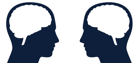 Dos cabezas con silueta de cerebro uno frente al otro. Símbolo para el mismo o diferente tipo de pensamientos, inteligencia o comunicación, para lectura de pensamientos, telepatía, opiniones adversas, ideas contrarias. Ilustración de vector