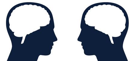 Dwie głowy z sylwetką mózgu zwróconą ku sobie. Symbol tego samego lub innego rodzaju myśli, inteligencji lub komunikacji, czytania myśli, telepatii, negatywnych opinii, sprzecznych poglądów. Ilustracje wektorowe