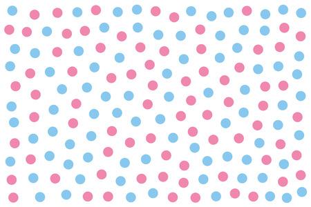 Puntos celestes y rosas sobre blanco. Fondo hecho de pequeñas manchas coloreadas al azar. Área manchada. Fondo de pantalla. Ilustración aislada sobre fondo blanco. Vector.