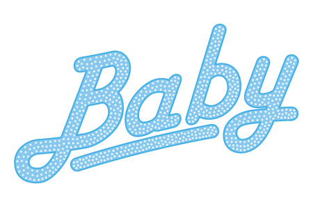 Cursive lettering of the word BABY, blue colored with bright and small dots. Randomly dotted, italic writing. Isolated. Illustration on white background. Vector. Illustration