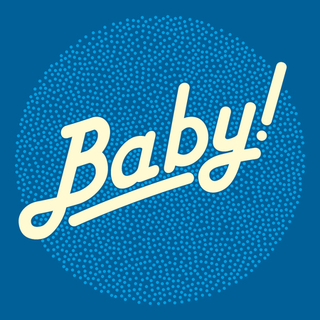Cursive lettering of the word BABY in light yellow color, over bright stippled circle area, made of randomly placed small dots. Isolated illustration on dark blue background. Vector. Illustration