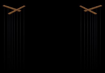 Teatro delle marionette. Due barre di controllo delle marionette in legno con lunghe corde. Illustrazione vettoriale su sfondo nero. Vettoriali