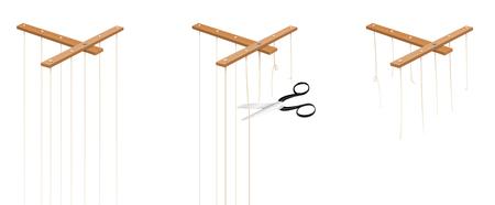 Puppet-snaren die in drie stappen worden geknipt. Geïsoleerde vector op wit. Vector Illustratie