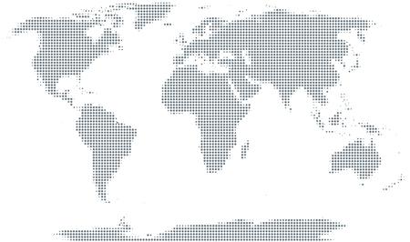 Silhouette der Welt. Graue Halbtonpunkte, die sich in Größe und Abstand unterscheiden. Weltkarte. Gepunkteter Umriss und Erdoberfläche unter Robinson-Projektion. Illustration auf weißem Hintergrund. Vektor. Vektorgrafik