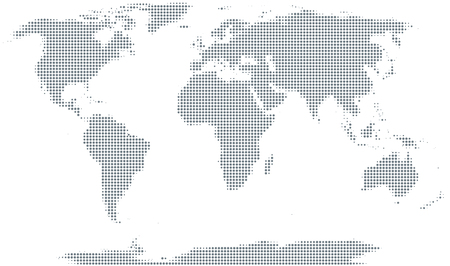 Silhouette of the world. Gray halftone dots, varying in size and spacing. Map of the world. Dotted outline and surface of the Earth under Robinson projection. Illustration on white background. Vector.