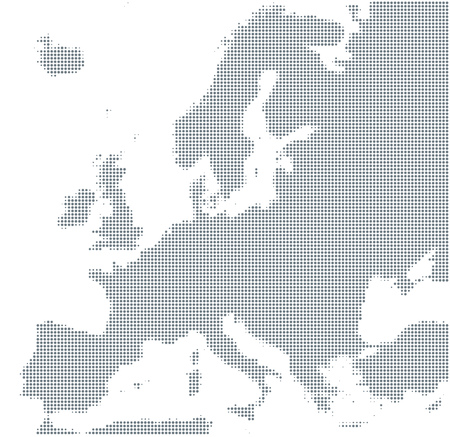Silhouette of Europe. Gray halftone dots, varying in size and spacing. Map of Europe. Dotted outline and surface under Robinson projection. Isolated ilustration on white background. Vector.